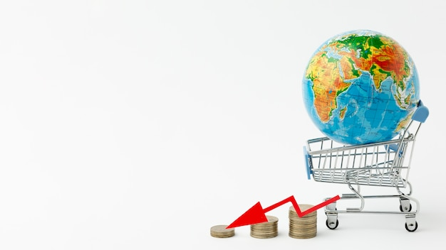 Concept of global economy and shopping crisis