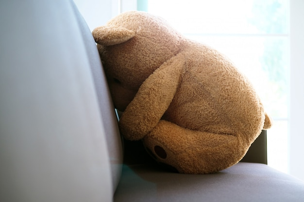 The concept of grief of children. the teddy bear sits on the couch inside the house, alone looking sad and disappointed.