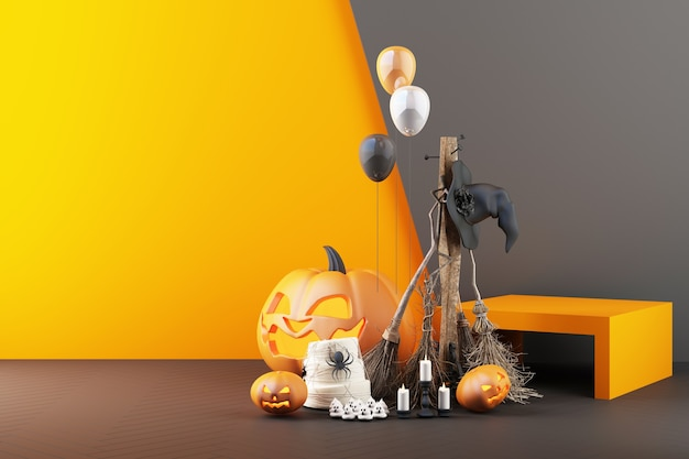 Concept of halloween ghost, pumpkin head, and product stand composition on black and orange color pattern background, 3d rendering illustration