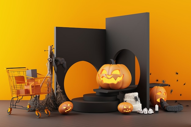 Concept of halloween ghost, pumpkin head, and shopping cart composition on black and orange color pattern background, 3d rendering illustration