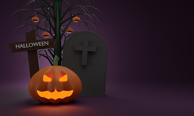 Concept happy halloween pumpkin ghost with crucifix and grave, in the night tree background.