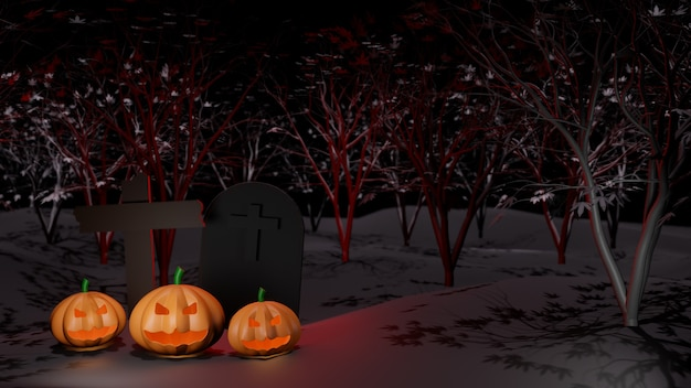 Concept happy halloween pumpkin ghost with crucifix and grave, in the night tree forest background.