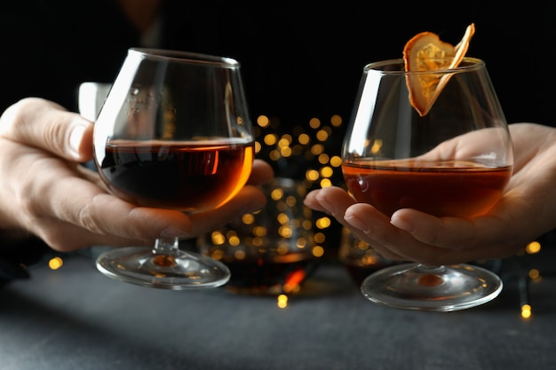Concept of hard alcoholic drinks with cognac