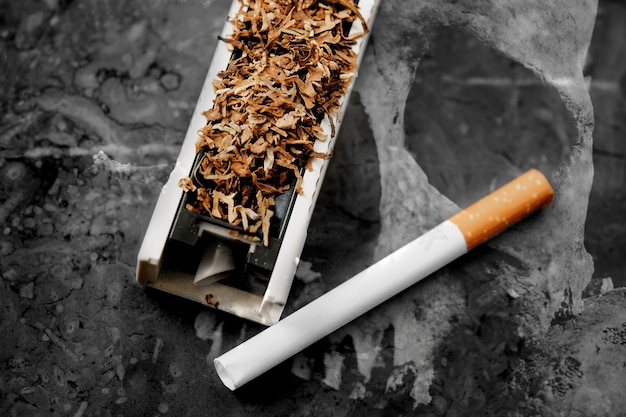 Concept of harm of cigarettes, tobacco products, death