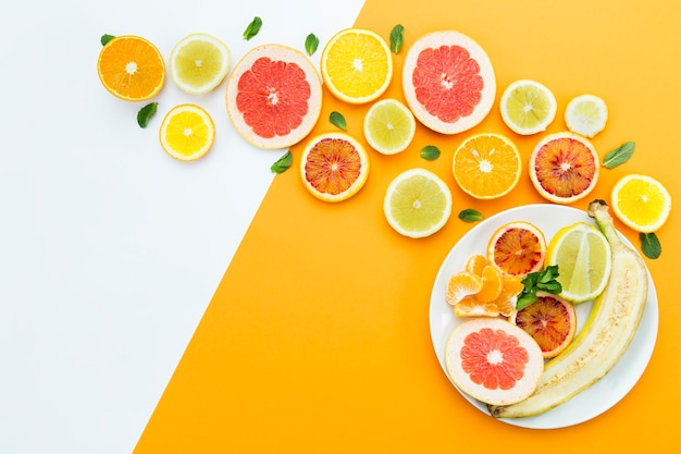 Concept of healthy eating flat lay