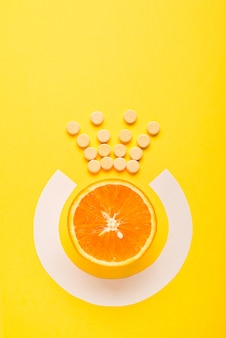 Concept of healthy eating. vitamin c is the main vitamin, the king among vitamins. fitness, flat lay