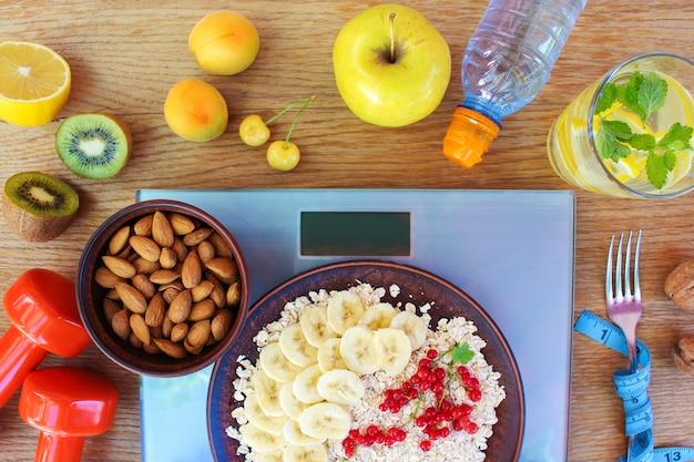 Концепция здорового питания и спортивного образа жизни. правильное питание. вид сверху. плоская планировка.