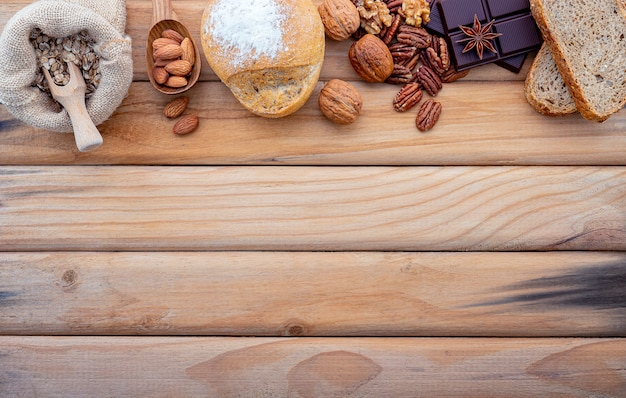 The concept of healthy food set up on shabby wooden .