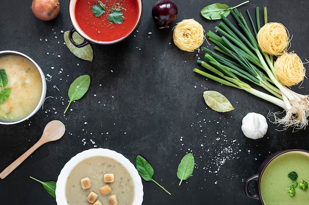 Concept of healthy soup eating assortment