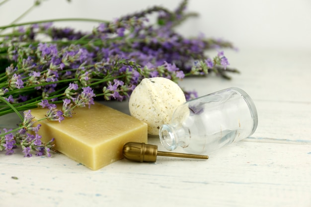 The concept of home comfort with lavender soap