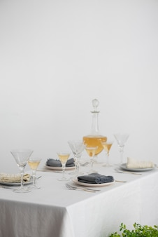 Concept of home decor with grey linen napkins, selective focus