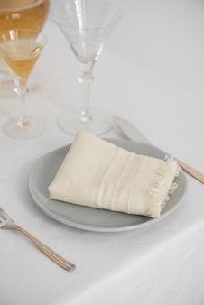 Concept of home decor with white linen napkins, selective focus