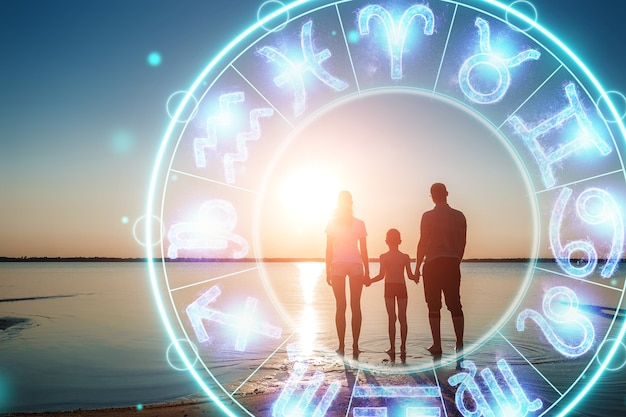 The concept of the horoscope, circle with the signs of the zodiac on the background of the family, astrology. consulting with the stars.