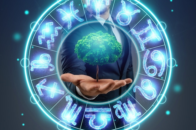 The concept of a horoscope, a circle with the signs of the zodiac on a background of greenery, astrology. consulting with the stars.