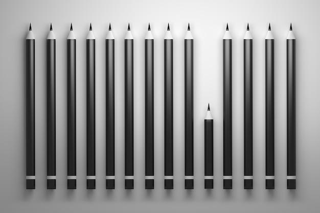 多くの長い鉛筆と1つの短い鉛筆の概念図