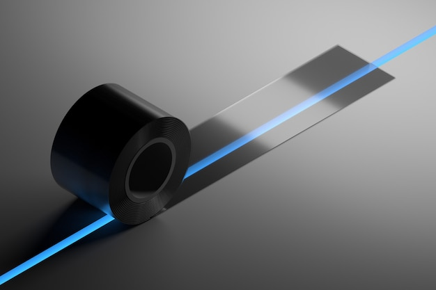Concept illustration with transparent duct tape covering gap with blue light. 3d illustration.