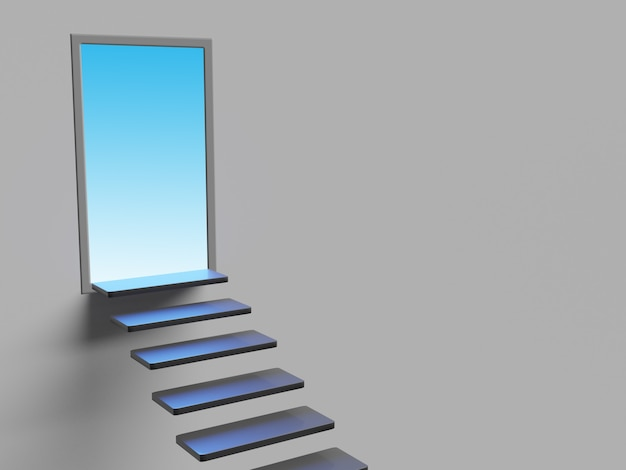 Concept image with staircase and open door with light