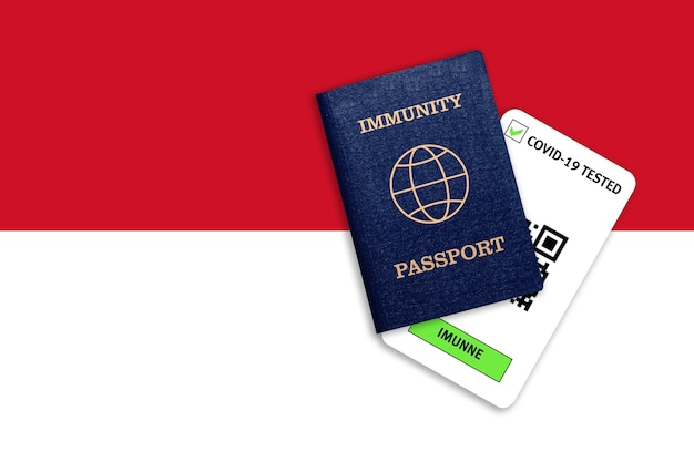 Concept of immunity to coronavirus. immunity passport and test result for covid-19 on flag of indonesia.