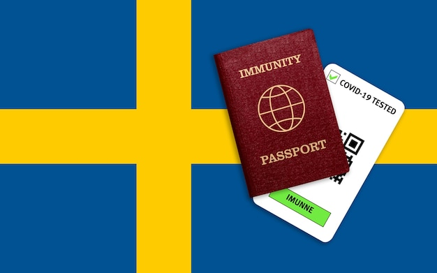 Concept of immunity to coronavirus. immunity passport and test result for covid-19 on flag of sweden.