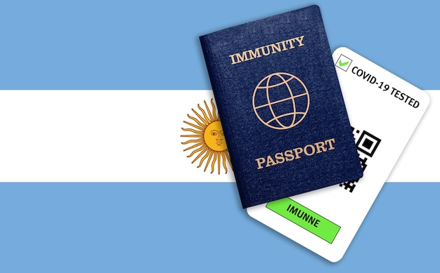 Concept of immunity passport for traveling and test result for covid on flag of argentina