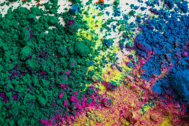 Concept of indian festival holi, multicolor's on floors