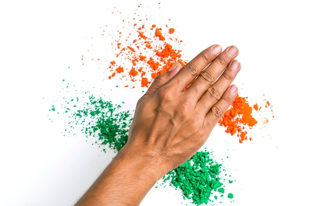 Concept for indian independence day and republic day, hand with tricolor on white background