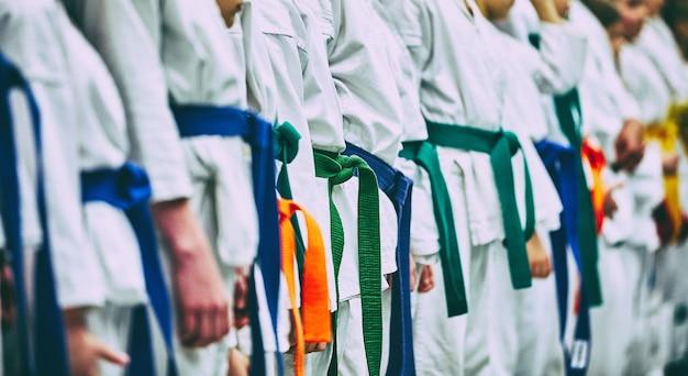 Понятие карате, боевые искусства. строительство студентов в зале перед тренировкой. кимоно, разные пояса, разные уровни подготовки.