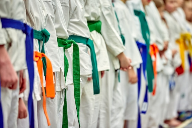 Concept karate, martial arts. construction of students in the hall before training. kimono, different belts, different levels of training