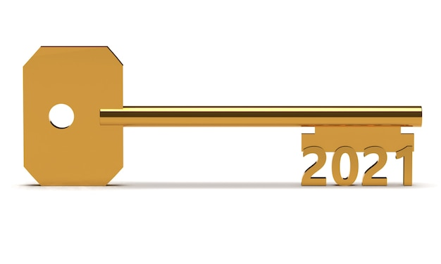 Ключ концепции с новым годом 2021, изолированные на белом. 3d рендеринг