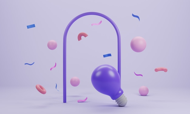 The concept of lightbulb and confetti flying on pastel background