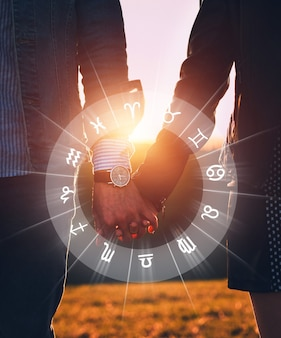 Concept of love compatibility between zodiac signs horoscope astrology zodiac