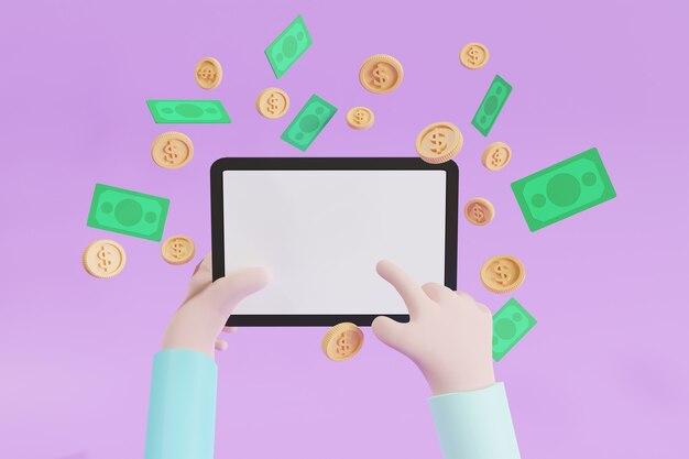 개념 휴대폰, 복사 공간, 동전 및 현금이 떠다니는 3d 일러스트레이션을 통해 콘텐츠로 돈을 버십시오.