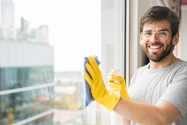 Concept of man cleaning his home