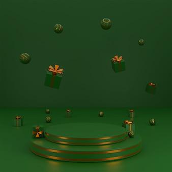 ギフトボックスと光沢のあるボールを備えた製品プレゼンテーション表彰台2層のコンセプトメリークリスマス。 3dレンダリング