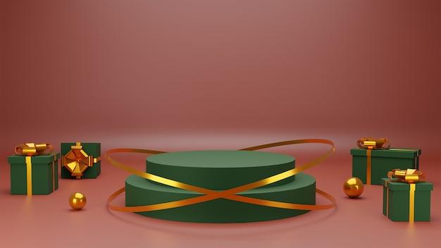 赤い背景の製品プレゼンテーション表彰台のためのコンセプトメリークリスマス。