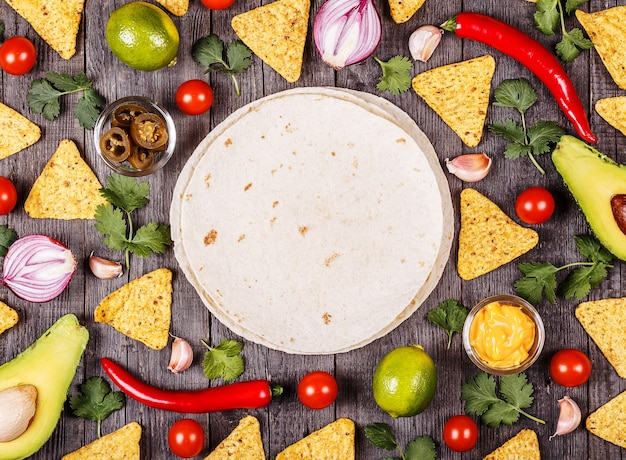 Concept of mexican food, food background, top view.