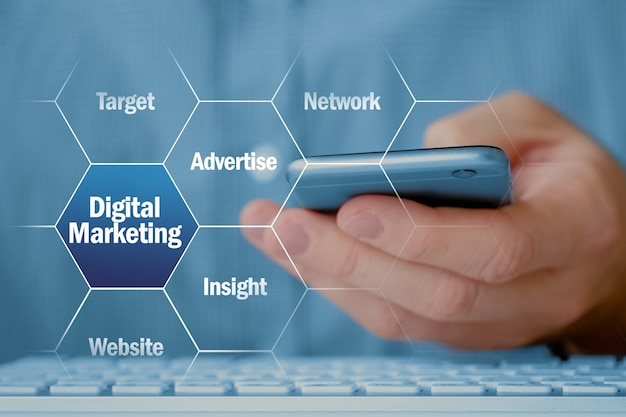 Concept of modern digital marketing on the background of a person with a smartphone.