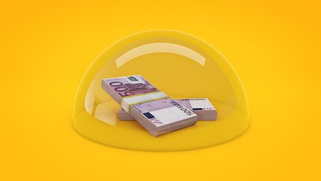 Концепция защиты денег 3d-рендеринга