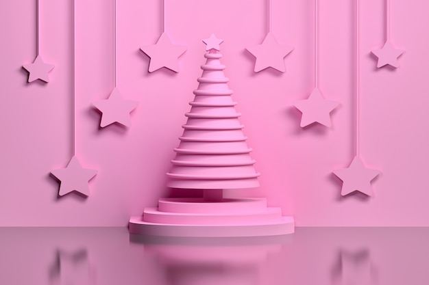 Concept monochrome pink christmas tree on a pedestal decorated with rings and large pink stars hanging on the wall