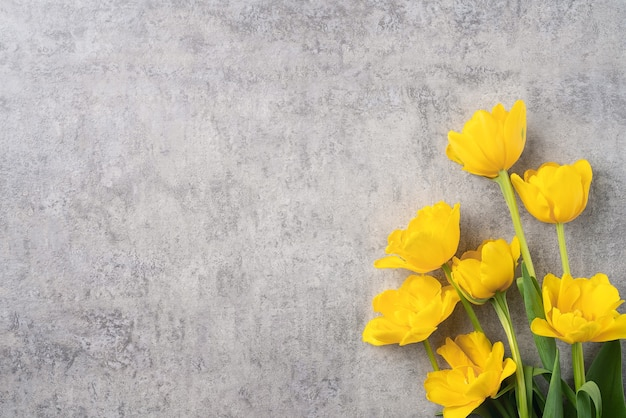Concept of mother's day holiday greeting design with yellow tulip flower bouquet on gray background