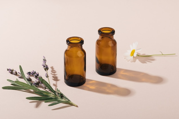Concept of natural cosmetics and healing herbs, selective focus