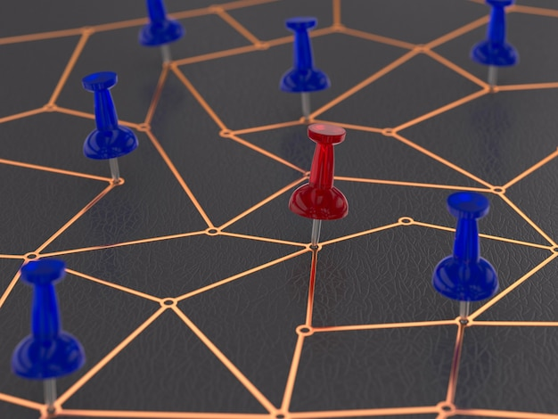 Concept network on dark background. 3d illustration