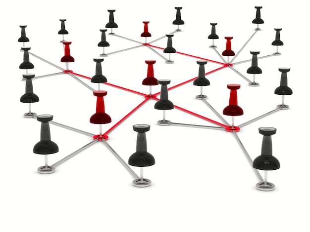 흰색 바탕에 개념 네트워크입니다. 격리 된 3d 그림