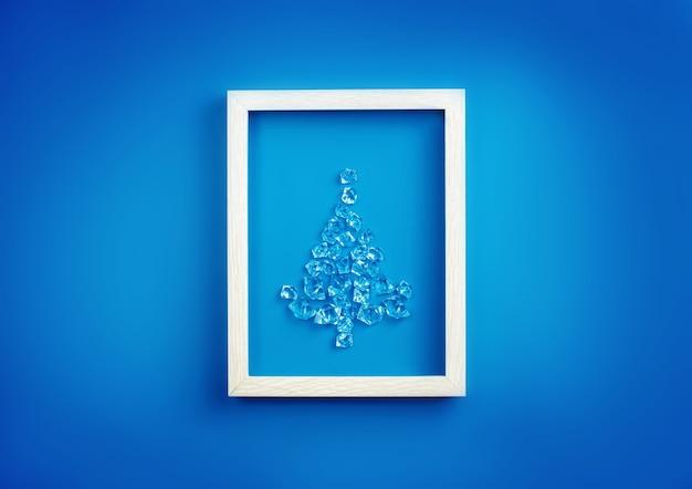 コンセプト新年、クリスマス。青い背景に囲まれた氷の結晶のクリスマスツリー