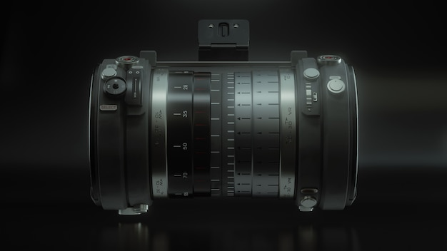 Concept of nonexistent dslr camera with lens isolated on a black background. 3d rendering of professional photography of nature, animal and cities