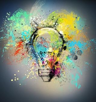 밝은 색상으로 그려지고 색이 지정된 전구로 새로운 창의적인 아이디어의 개념