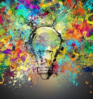 明るい色で描かれ、着色された電球で新しい創造的なアイデアの概念
