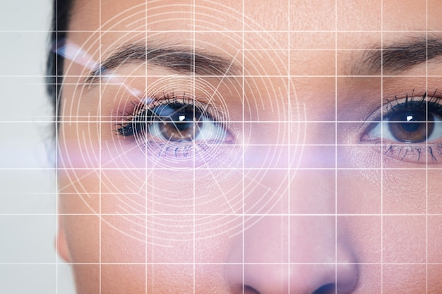Концепция сканирования сетчатки глаза, дополненная реальность, технология оптометрии, биометрия