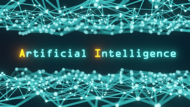 인공 지능이라는 단어와 함께 인공 지능의 개념, 과학 및 기술에서 네트워크를 형성하는 선과 점으로 구성된 블루 톤-3d 렌더링.