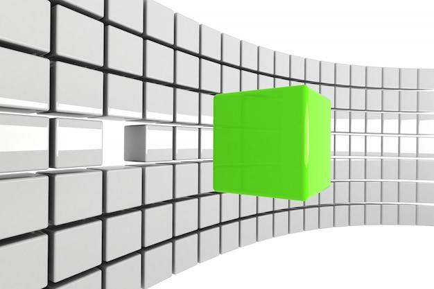 群衆から切り離された明るい緑の立方体の概念